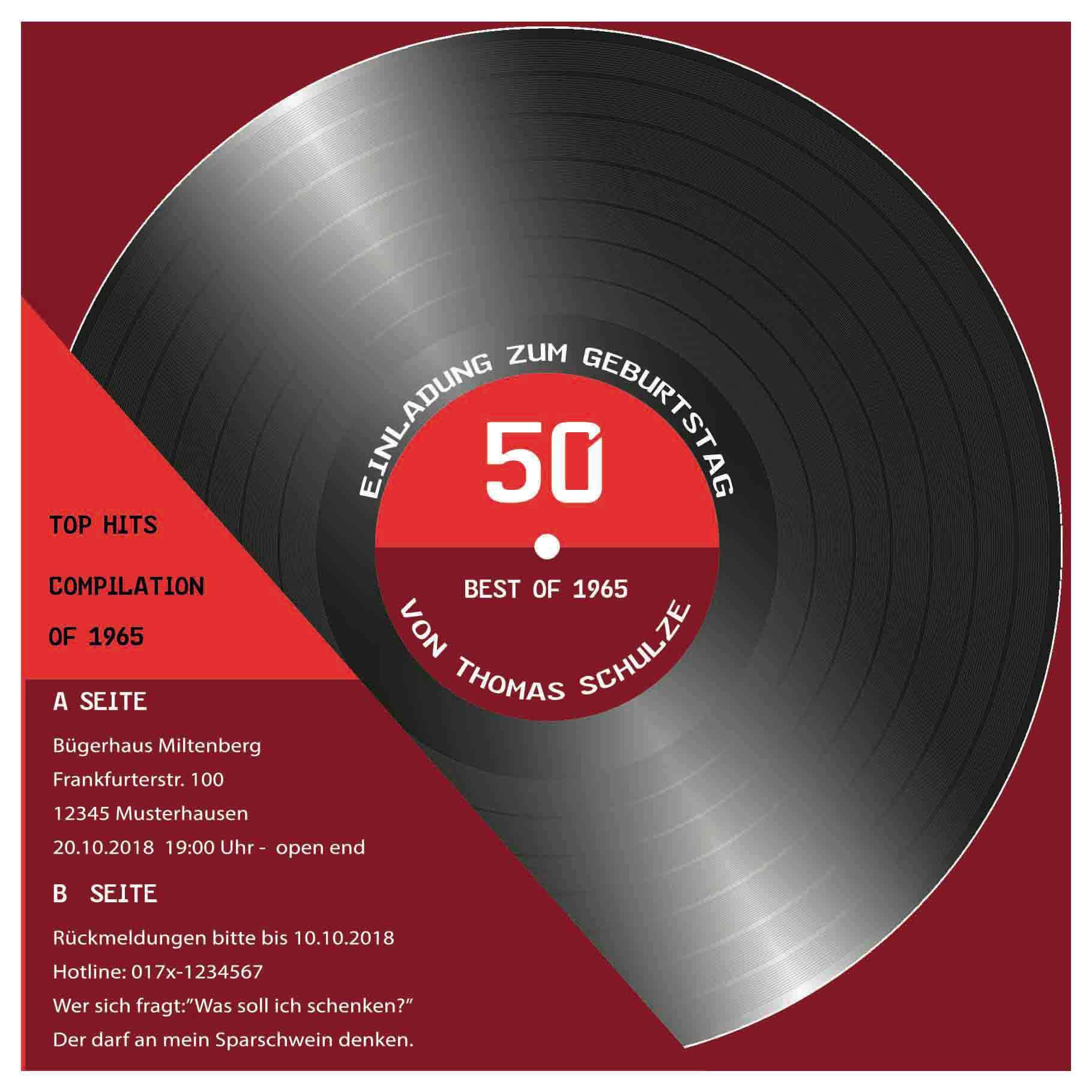 Einladung Geburtstag Einladungen 50 Geburtstag Geburstag