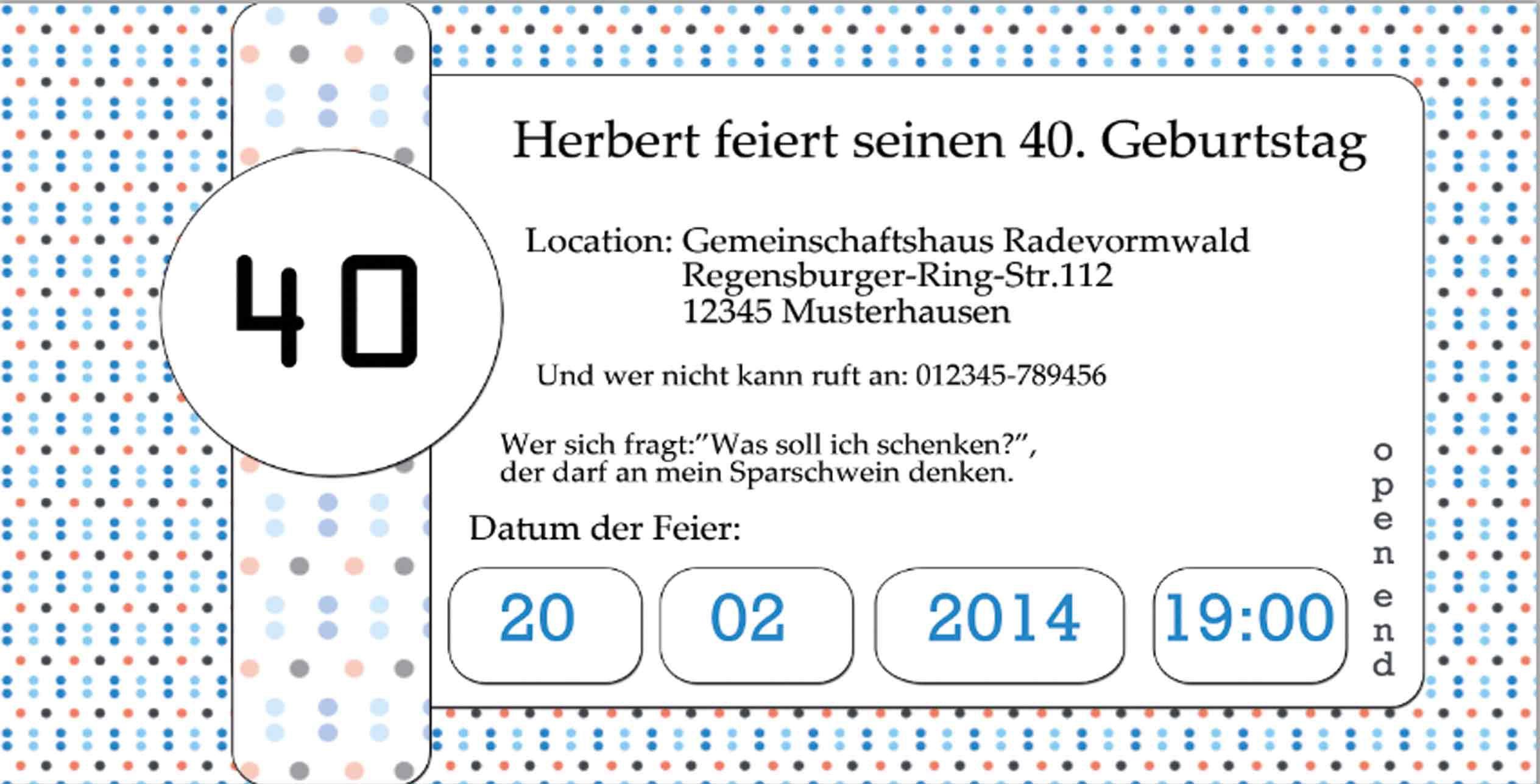 einladung geburtstag : einladung zum 40 geburtstag - geburstag, Einladung