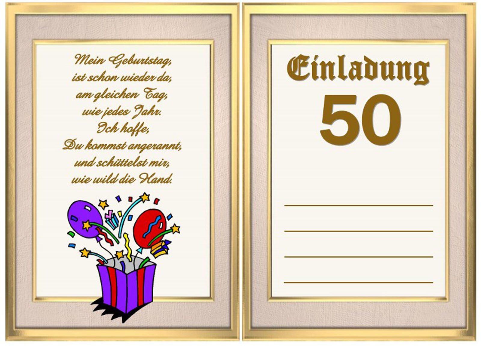 Einladung Zum 50 Geburtstag : Einladung Zum 50 Geburtstag Kostenlos ...