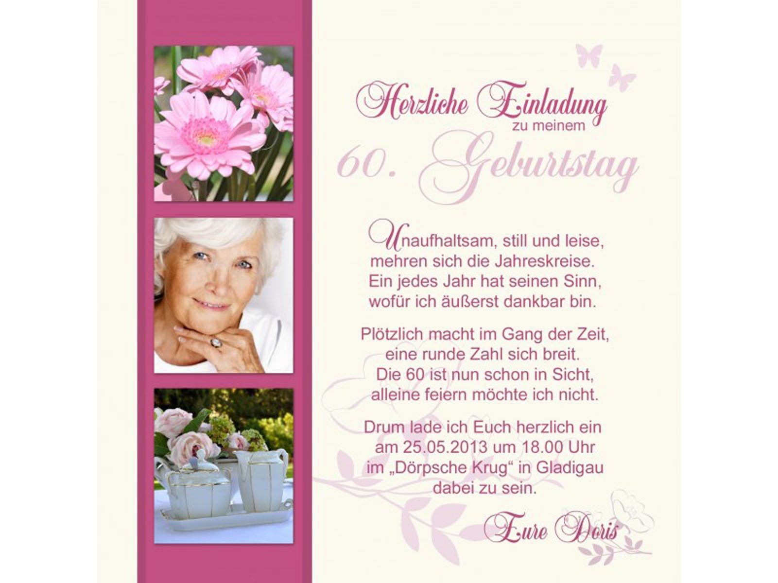 Einladung Zum 60 Geburtstag : Einladung Zum 60. Geburtstag ...
