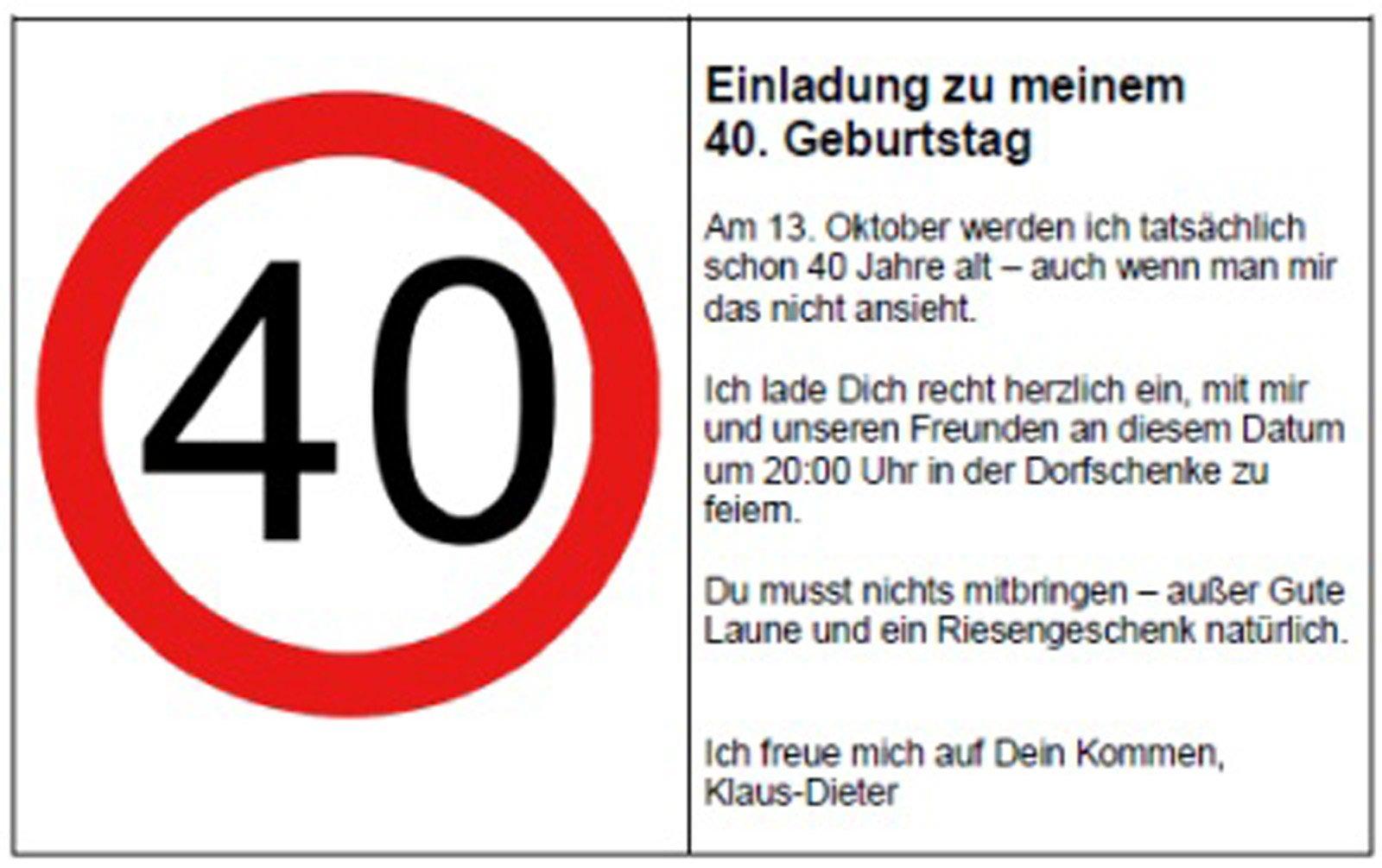 Fesselnd More Article From 40 Geburtstag Einladung