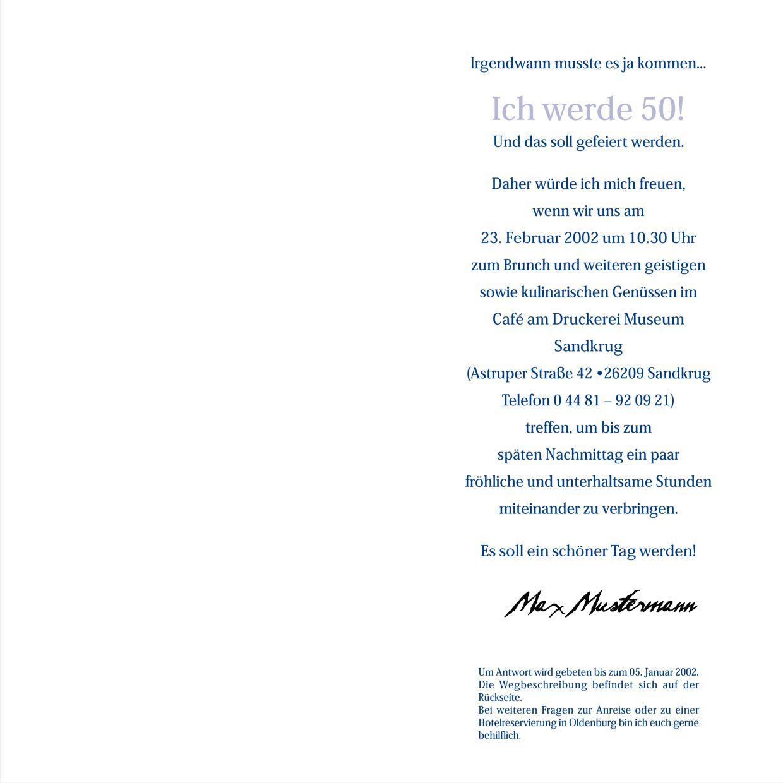 Einladung 50 Geburtstag Text : Einladung 50. Geburtstag Text Bayerisch - Geburstag ...