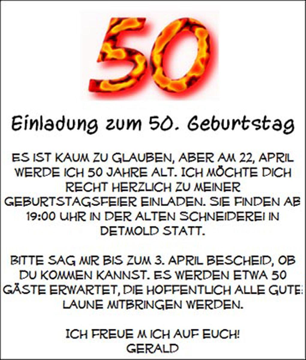 Einladung 50 Geburtstag Text Einladung 50 Geburtstag Text