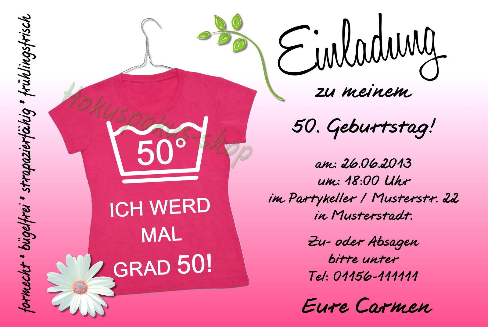 Einladungskarte Geburtstag Einladungskarte Geburtstag: Einladung 50 Geburtstag : Einladung 50 Geburtstag Text