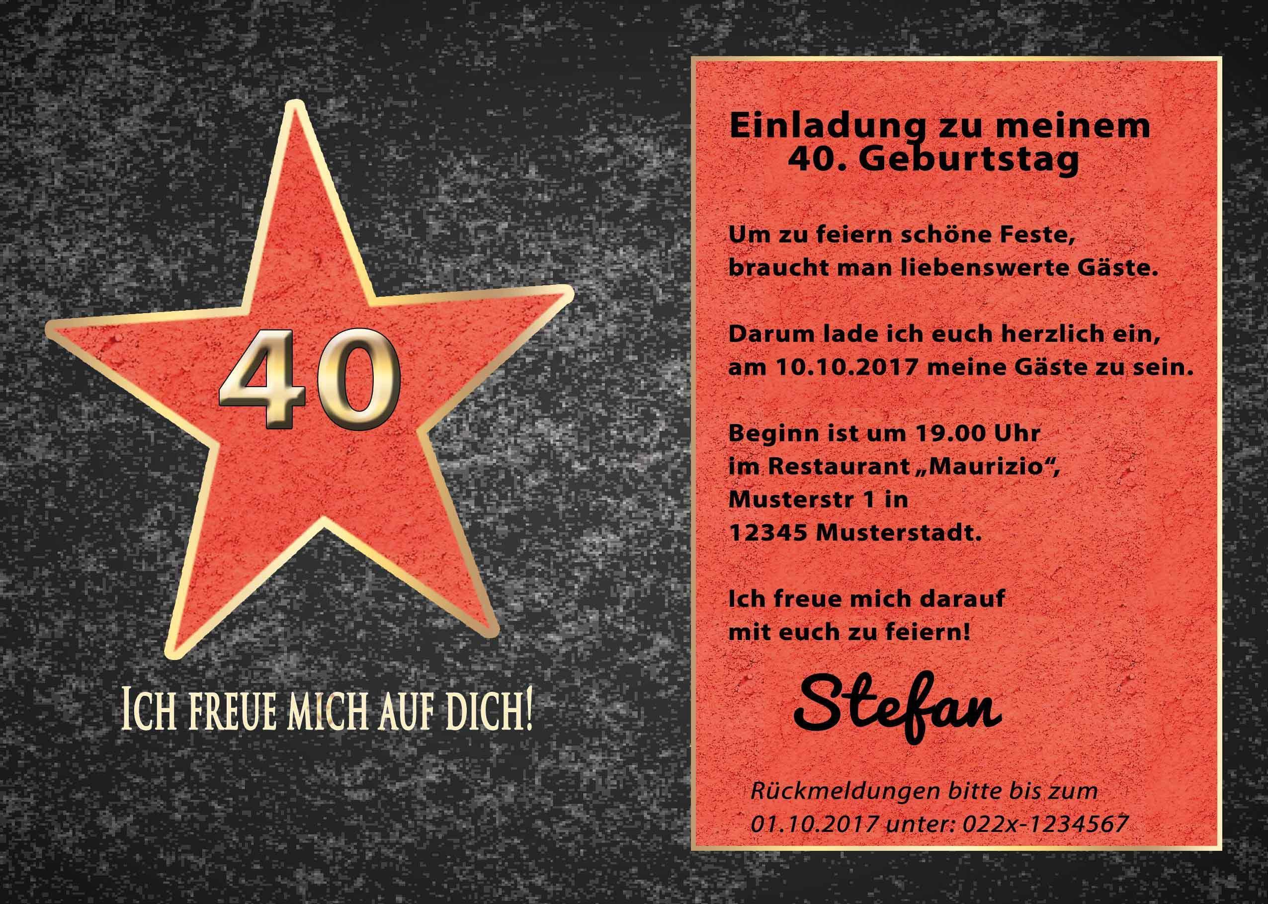 Einladungskarten 40 geburtstag zum ausdrucken kostenlos